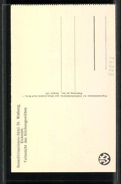 AK Eichstätt, Benediktiner-Abtei St. Walburg, Teilansicht des Kirchengewölbes 1