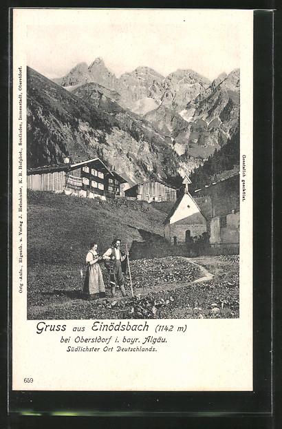 AK Einödsbach, Teilansicht mit Bergen 0