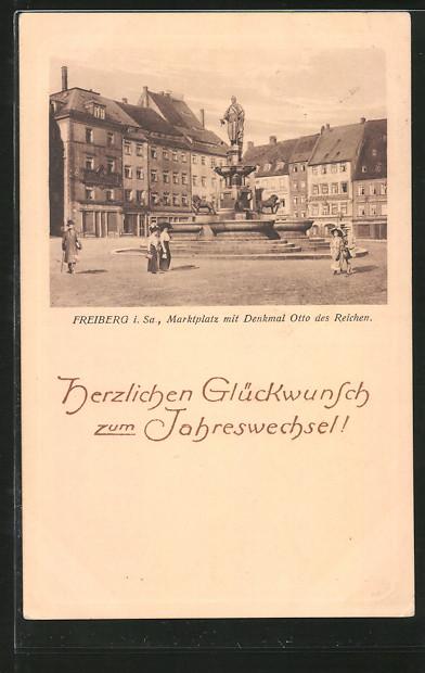 AK Freiberg, Marktplatz mit Denkmal Otto des Reichen 0