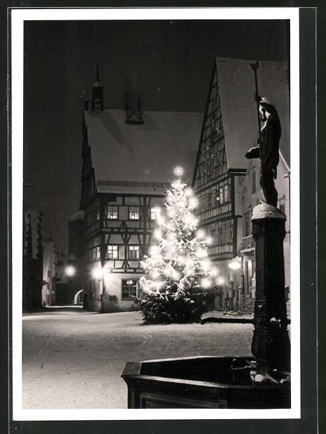 Foto-AK Oettingen, Marktplatz bei Nacht mit Christbaum 0