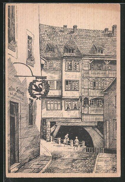 Künstler-AK Erfurt, Strassenwinkel in der Altstadt, Gasthof zum Alten Schwan 0