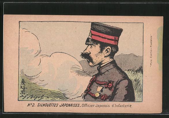 Künstler-AK Silhouettes Japonaises, Officier d'Infanterie, Offizier der japanischen Infanterie