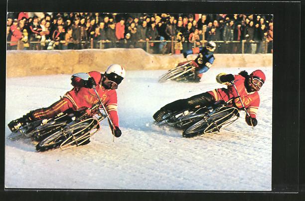 AK Ice Racing, Eis-Speedway, Motorradrennfahrer Alexander Cherbakov und Vladimir Chapala 0