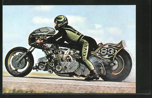 AK Dragsters, Sprintmaschinen, Henk Vink, Startnummer 83, Kawasaki
