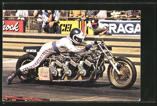 AK Sprintmotoren, Dragsters, Russ Collins auf Honda-Motorrad 0