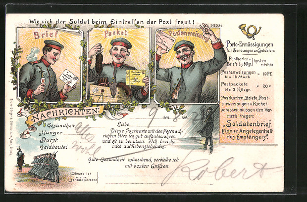 Lithographie Wie sich der Soldat beim Eintreffen der Post freut! 0