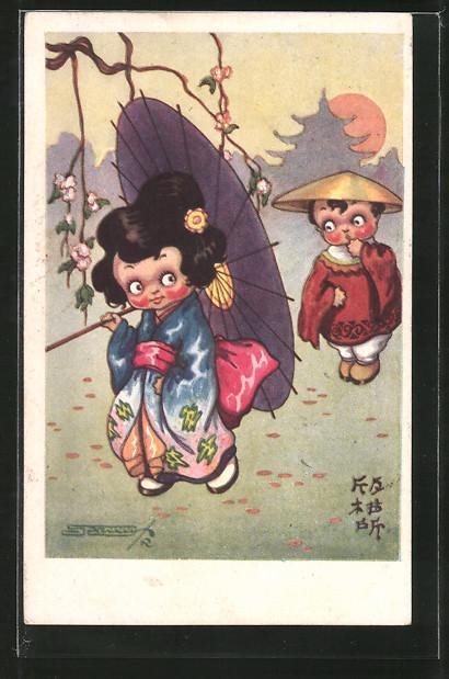 Künstler-AK sign. Roberto Sgrilli: Kleines japanisches Paar 0