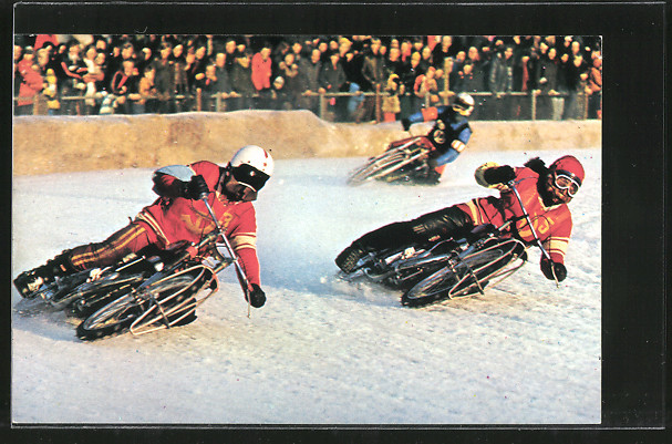 AK Ice Raacing, Eis-Speedway, Motorradrennen, Alexander Cherbakov 3 vor Vladimir Chapala 5