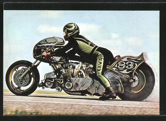AK Dragsters, Sprintmaschinen, Motorrad mit Startnummer 83, Henk Vink auf Kawasaki