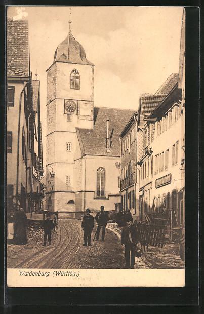 AK Waldenburg, Strassenpartie an der Kirche 0