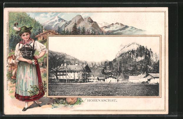 Passepartout-Lithographie Aschau, Blick zum Schloss Hohenaschau, Frau in Tracht 0