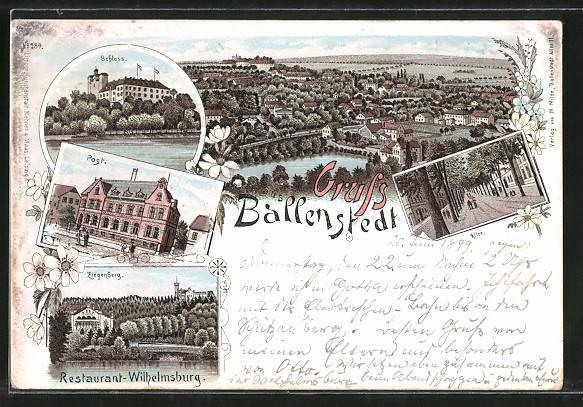 Lithographie Ballenstedt, Restaurant Wilhelmsburg am Ziegenberg, Post, Schloss 0