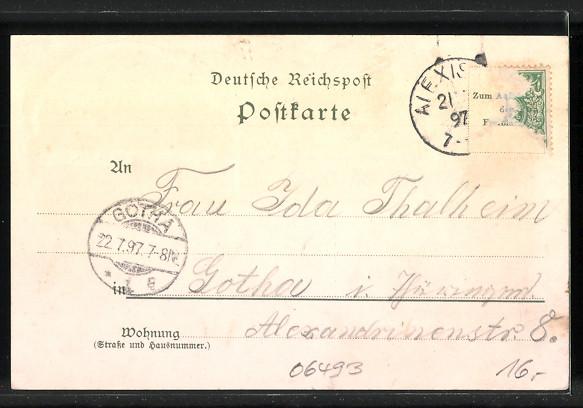 Lithographie Alexisbad, Hotel Pension zur Klostermühle, Hotel zur goldenen Rose, Hirsche 1