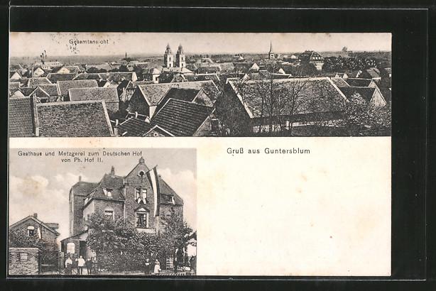 AK Guntersblum, Gasthaus Metzgerei zum Deutschen Hof v. P. Hof, Gesamtansicht 0
