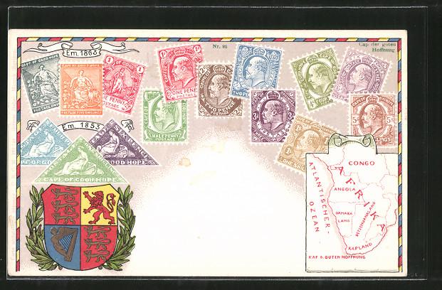 AK Briefmarken von Kap der guten Hoffnung, Cape of Good Hope, Wappen und Landkarte