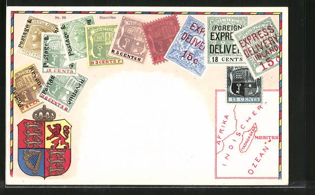 AK Briefmarken von Mauritius, Wappen und Landkarte 0