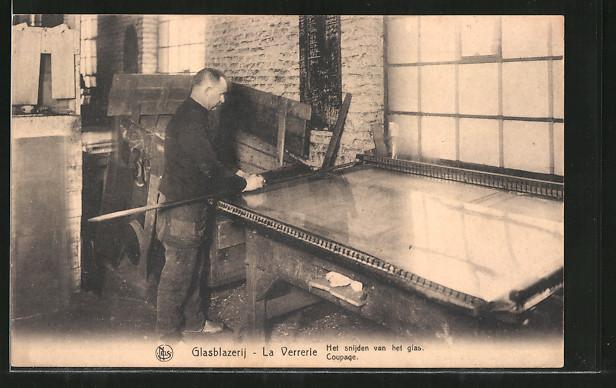 AK La Verrèrie, Coupage, Herstellung einer Glasscheibe 0