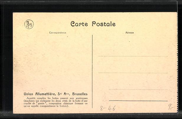 AK Bruxelles / Brüssel, Union Allumettière, Gratinage de la boîte 1