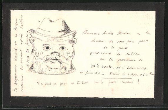 Künstler-AK Handgemalt: Portrait eines Herren mit Mütze und Pfeife
