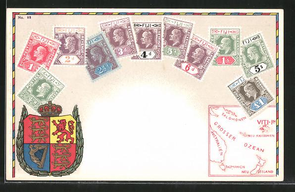 AK Briefmarken von Fiji, Wappen und Landkarte