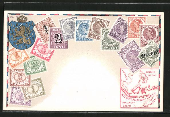 AK Briefmarken von Nederlandsch Indie, Wappen und Landkarte