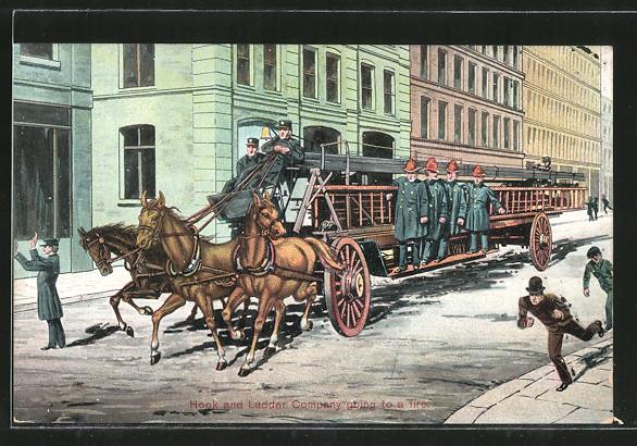 AK Von Pferden gezogener Leiterwagen der Feuerwehr, Hook and Ladder Company going to a fire