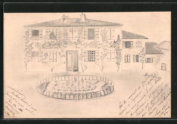 Künstler-AK Handgemalt: Efeubewachsenes Haus vom Garten gesehen 0