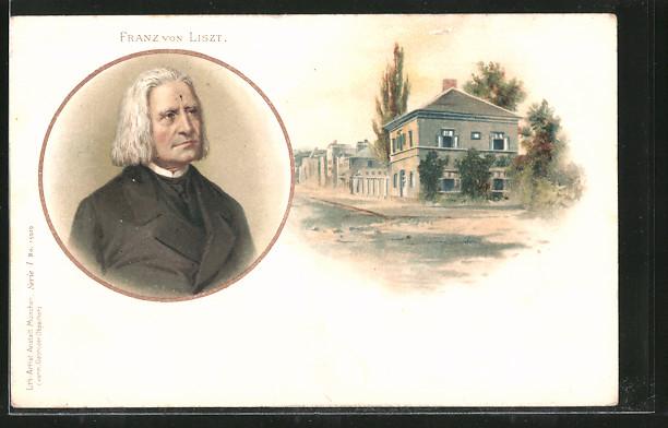 Lithographie Komponist Franz von Liszt, Gebäude 0
