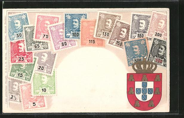 AK Portugiesische Briefmarken und Wappen 0