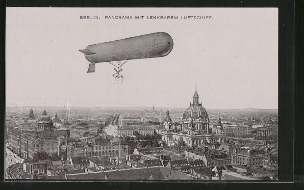 AK Berlin, Panorama mit lenkbarem Luftschiff 0