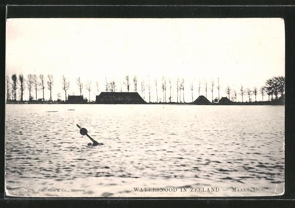 AK Watersnood in Zeeland, Hochwasser vom März 1906