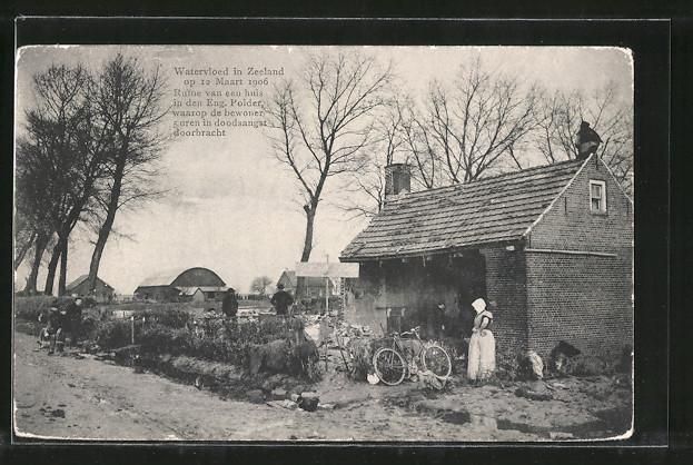 AK Watervloed in Zeeland, Schäden nach Hochwasser vom März 1906
