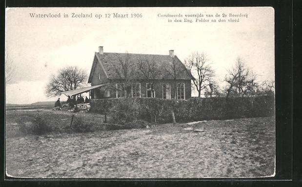 AK Watervloed in Zeeland, Schäden an einem Haus nach Hochwasser vom März 1906