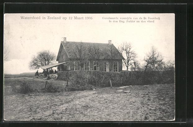 AK Watervloed in Zeeland, Schäden an einem Bauernhaus nach Hochwasser vom März 1906