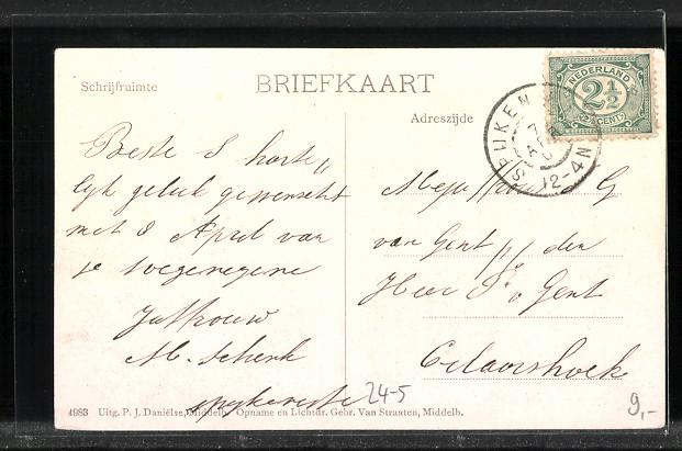AK Watervloed in Zeeland, Schäden an einem Bauernhaus nach Hochwasser vom März 1906 1