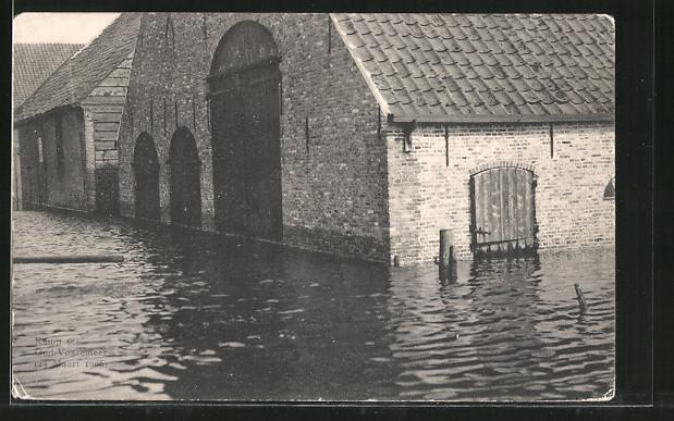 AK Oud-Vossemeer, Watervloed in Zeeland, Hochwasser im März 1906