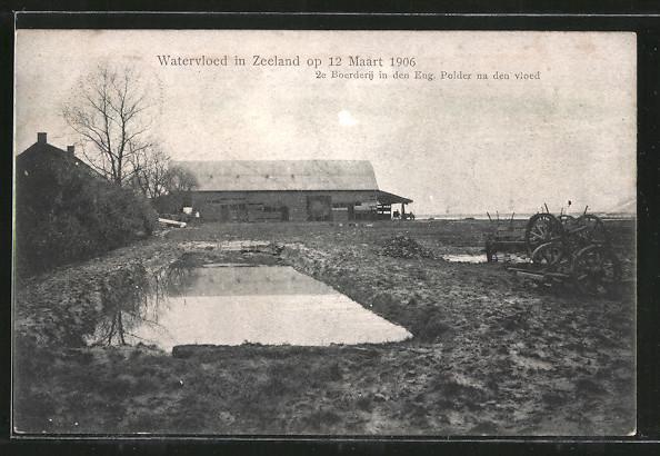 AK Watervloed in Zeeland, Bauernhof nach Hochwasser vom März 1906