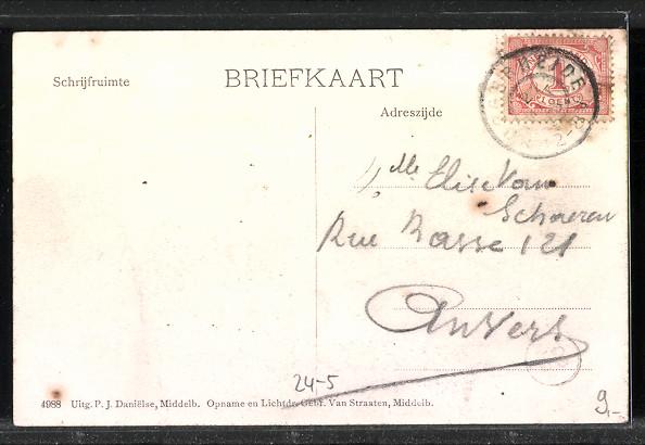 AK Watervloed in Zeeland, Bauernhof nach Hochwasser vom März 1906 1