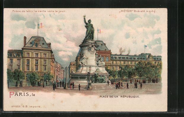 Lithographie Paris, Place de la République, Halt gegen das Licht: Ansicht im Abendlicht 0