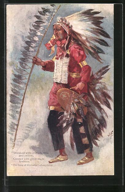 Künstler-AK Indianer mit Schild und Lanze,
