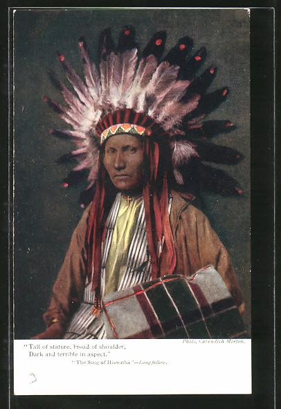 AK Indianer-Häuptling mit Federschmuck,