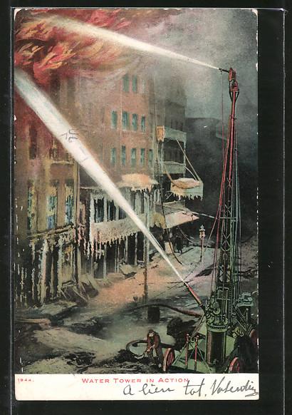 AK Water Tower in Action, Feuerwehr mit Spritzenwagen beim Löschen