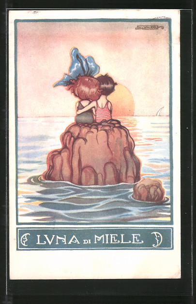 Künstler-AK sign. Roberto Sgrilli: Luna di Miele, Paar am Meer beim Sonnenuntergang