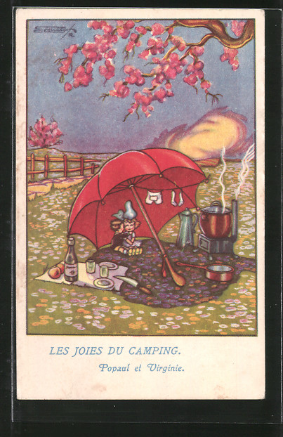 Künstler-AK sign. Roberto Sgrilli: Les Joies du Camping, Popaul et Virginie