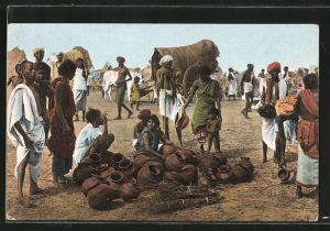 AK Marktszene in Ostindien, Händler bieten Töpferwaren an