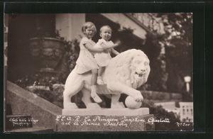 AK Königshaus von Belgien, Princesse Joséphine-Charlotte et le Prince Baudouin