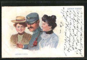 Lithographie Wiener Typen, Wiener Kinder, Soldat und Fräuleins