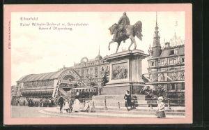 AK Elberfeld, Kaiser Wilhelm-Denkmal mit Schwebebahn-Bahnhof Döppersberg