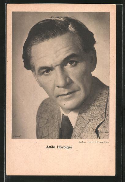 AK Schauspieler Attila Hörbiger im Anzug porträtiert