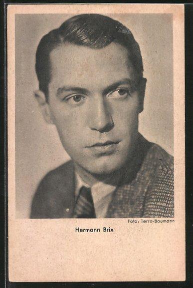 AK Schauspieler Hermann Brix im Anzug porträtiert